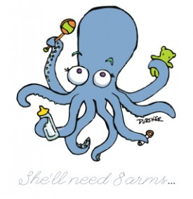 Octopus Baby Shower Invitation Illustration